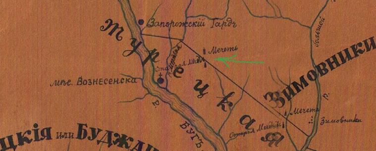 Мечеті Прибужжя на старовинній карті