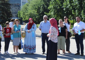 Ukrainian Muslims during a celebration of the Crimean Tatar flag on June, 2019. (Facebook)