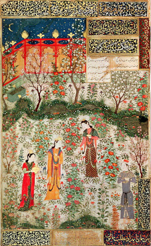 A 15th Century Persian garden or, perhaps, the islanders foraging for their exotic fruit under the illusion that it will fulfil their souls…