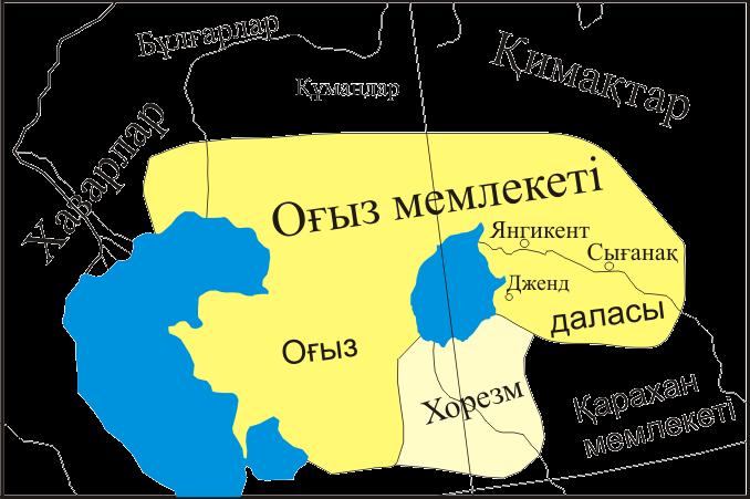 зона расселения огузов в 9 веке