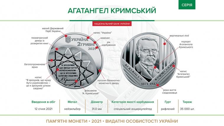 ©️НБУ: Від 12 січня 2021 року Нацбанк України ввів в обіг пам'ятну монету на вшанування Агатангела Кримського