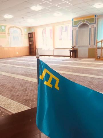 фейсбук: 26.06.2020, Кримськотатарський прапор в мечеті Ісламського культурного центру ім. Мухаммада Асада, м. Львів