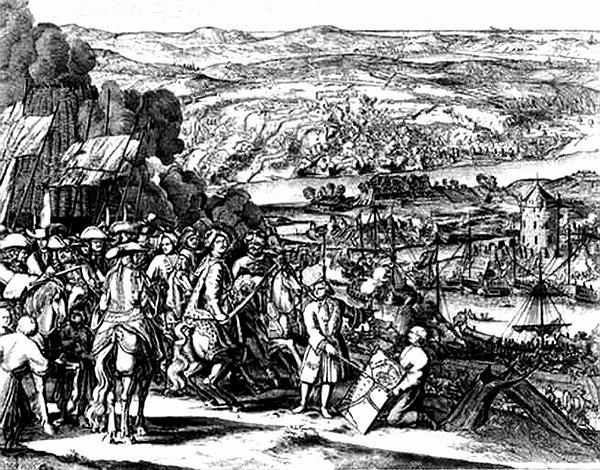 Оточена російська армія під час Прутського походу