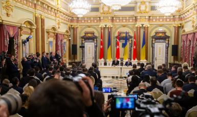 © ️пресс-служба Президента України: 03.02.2020, спілкування зі ЗМІ за підсумками 8-го засідання Стратегічної ради високого рівня між Україною і Туреччиною
