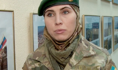Amina Okuyeva, a Ukrainian citizen and ethnic Chechen who served as a volunteer soldier in the war against Russian-backed forces in eastern Ukraine