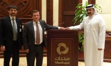 Посол Украины в Катаре Евгений Микитенко и советник по торгово-экономическим вопросам Владимир Куруц провели встречу и переговоры с генеральным директором А. Аль Абдуллой