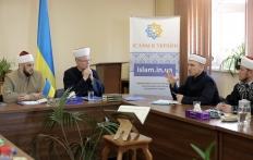 Members of the Ukrainian Center for Fatwas hold a meeting before the beginning of Ramadan