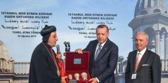 ФОТО АА: Митрополит Юсуф Четін (ліворуч) і президент Туреччини Реджеп Ердоган на церемонії початку будівництва храму