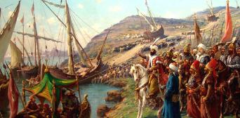 Османський султан спостерігає за перекиданням флоту по суші